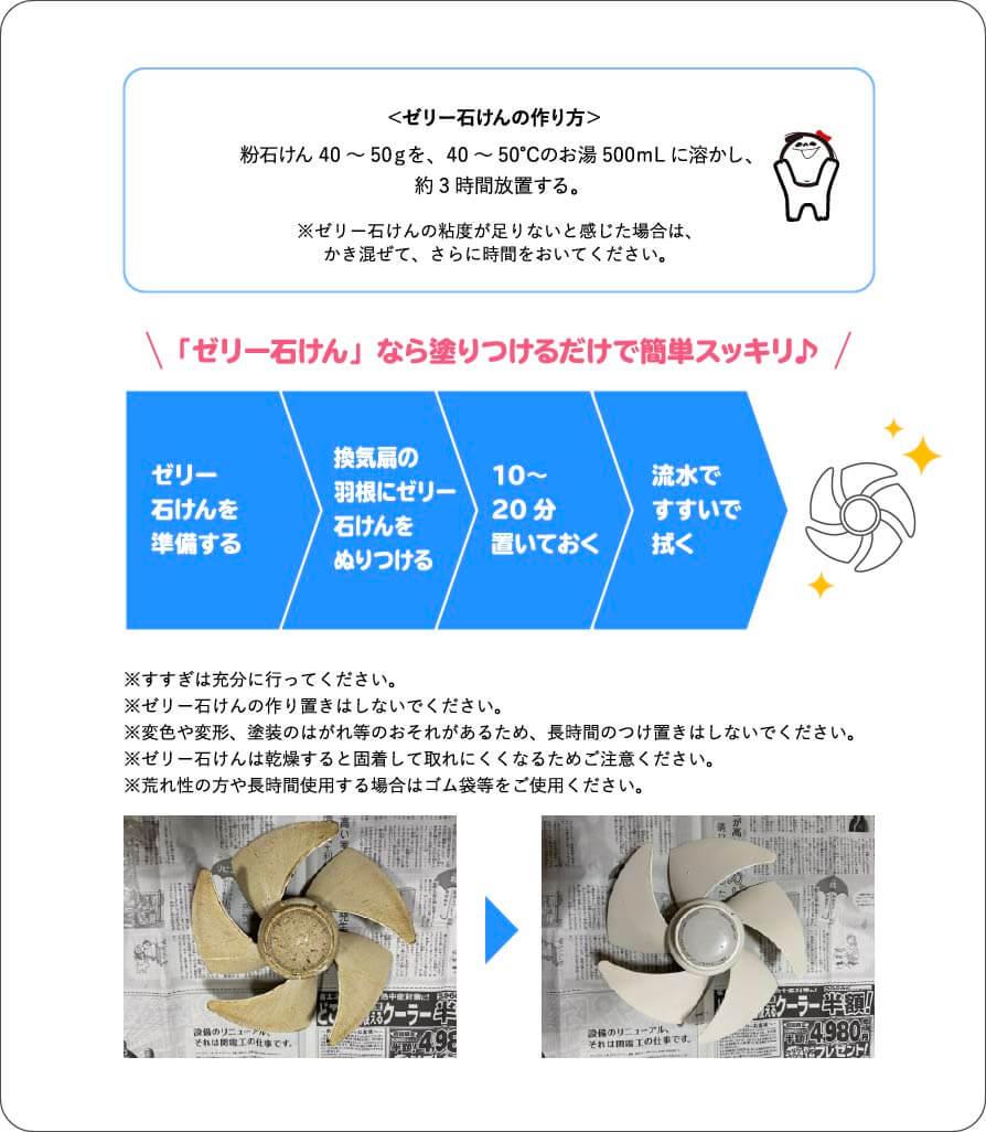 <ゼリー石けんの作り方> 粉石けん40~50gを、40~50℃のお湯500mLに溶かし、約3時間放置する。 ※ゼリー石けんの粘度が足りないと感じた場合は、かき混ぜて、さらに時間をおいてください。 「ゼリー石けん」なら塗りつけるだけで簡単スッキリ♪ ゼリー石けんを準備する 換気扇の羽根にゼリー石けんをぬりつける 10〜20分置いておく 流水ですすいで拭く ※すすぎは充分に行ってください。 ※ゼリー石けんの作り置きはしないでください。 ※変色や変形、塗装のはがれ等のおそれがあるため、長時間のつけ置きはしないでください。 ※ゼリー石けんは乾燥すると固着して取れにくくなるためご注意ください。 ※荒れ性の方や長時間使用する場合はゴム袋等をご使用ください。