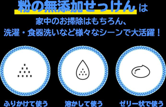 粉の無添加せっけんは、家中のお掃除はもちろん、洗濯・食器洗いなど様々なシーンで大活躍! ふりかけて使う 溶かして使う ゼリー状で使う